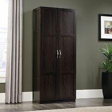 Sauder 419496 Adjustable Shelves Storage Cabinet In Dark Cinnamon Cherry Finish