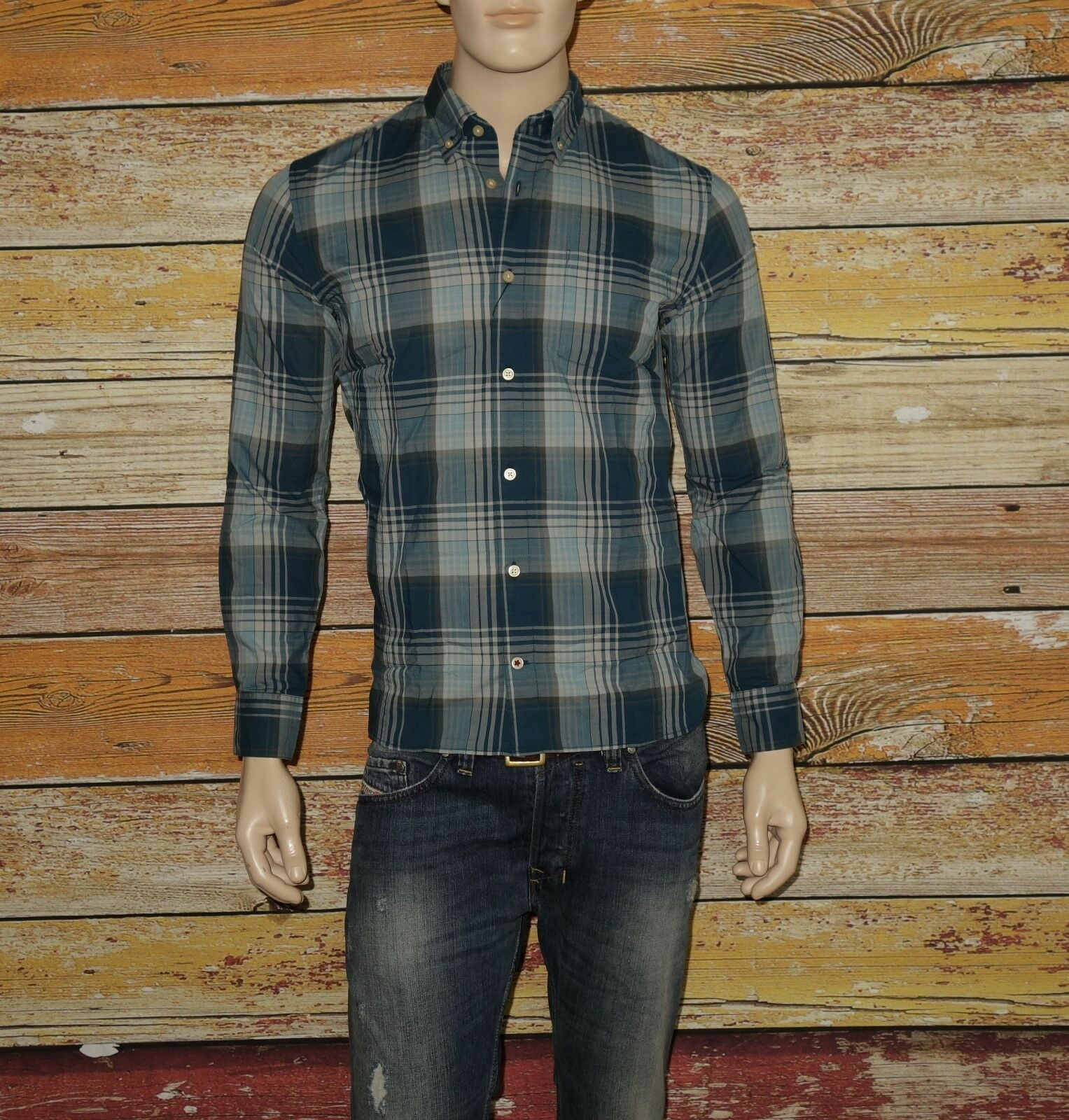 NEW John Varvatos Shirt in Petrol Größe XS 32/33 Long Sleeves was 148.00