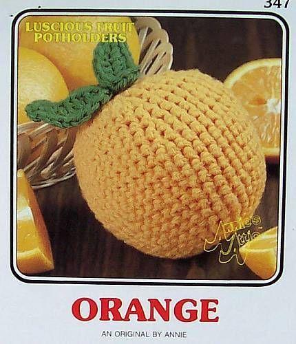 Crochet Luscious Fruit Potholders  Orange   AA