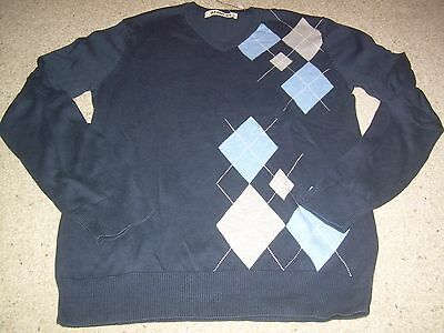OLD NAVY Blue w/ ARGYLE Print V Neck Long Sleeve Sweater S NWT NEW FREE SHIP
