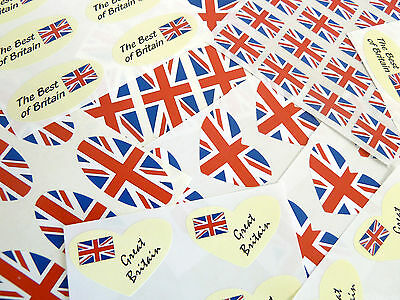 12 Sizes British GB Union Jack  Stickers Labels Circles Rectangles Ovals