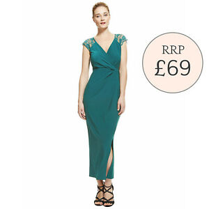 M&S  Green Lace Shoulder Maxi Dress  -  Sizes 12 ONLY  -  RRP £69