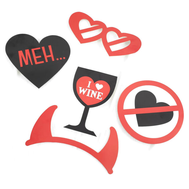 5 Anti Valentines Day Party Photo Booth Props Set Galentines Wine Heart Breakup For Sale Online