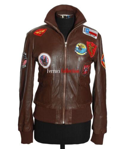 blouson Gun Nouveau aviateur en Brown cuir vrai Top aviateur Ladies agneau dYS4x6Ow