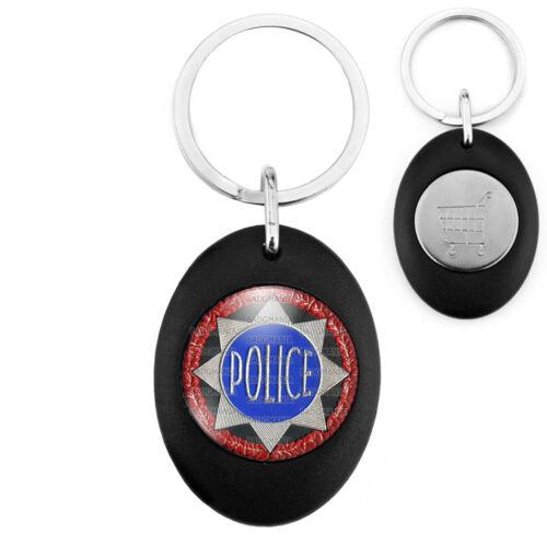 Porte-Clés Noir Jeton Caddie Etoile POLICE Fond Noir