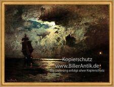 Mondnacht auf der Ostsee Louis Douzette Vollmond Segelschiff  Maritim A2 147 LW