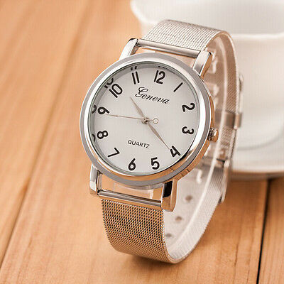 Geneva Women's Fashion Watch Silver Stainless Steel Analog Quartz Wrist Watches