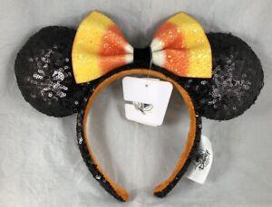 Disney-Park-Minnie-Mouse-Ears-Candy-Corn-Bow-Halloween-Black-Orange-Headband-Hat