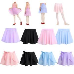 40b5cc52d Girls Kids Basic Ballet Dance Skate Dress Chiffon Mini Wrap Skirt ...
