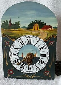 Hermle-Wall-Clock-Movement-amp-Dial-1968-Chains-Hand-Painted-Friese-Clock
