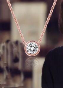 Kette-Halskette-Anhaenger-925-Silber-silber-rosegold-Zirkonia-rund-NEU