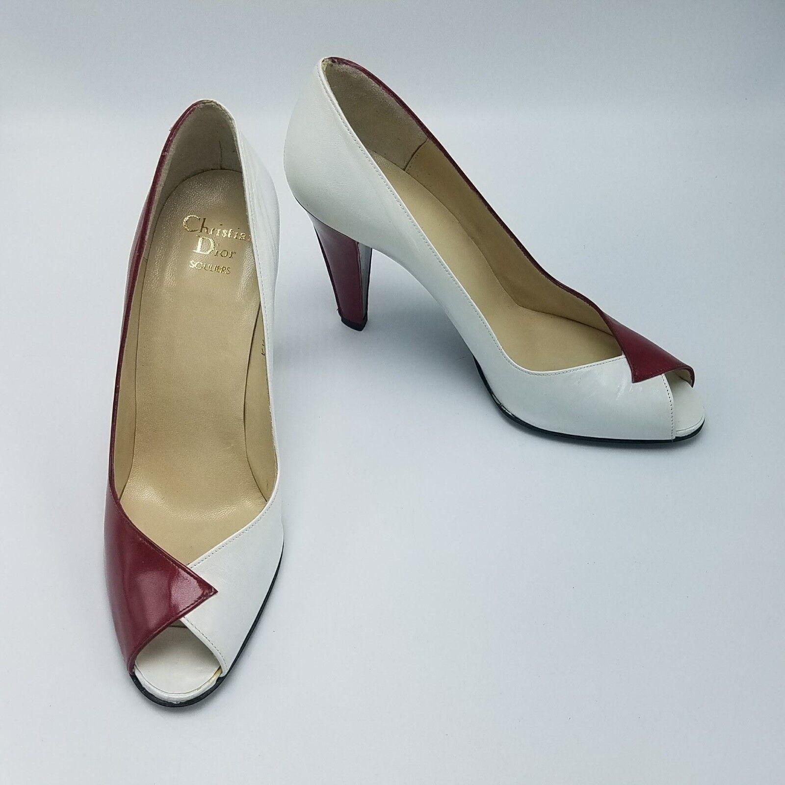 alta qualità generale Vtg DIOR scarpe Leather Classic Peep Toe Toe Toe Pumps rosso   bianca Dimensione 7.5 AA Narrow  spedizione e scambi gratuiti.