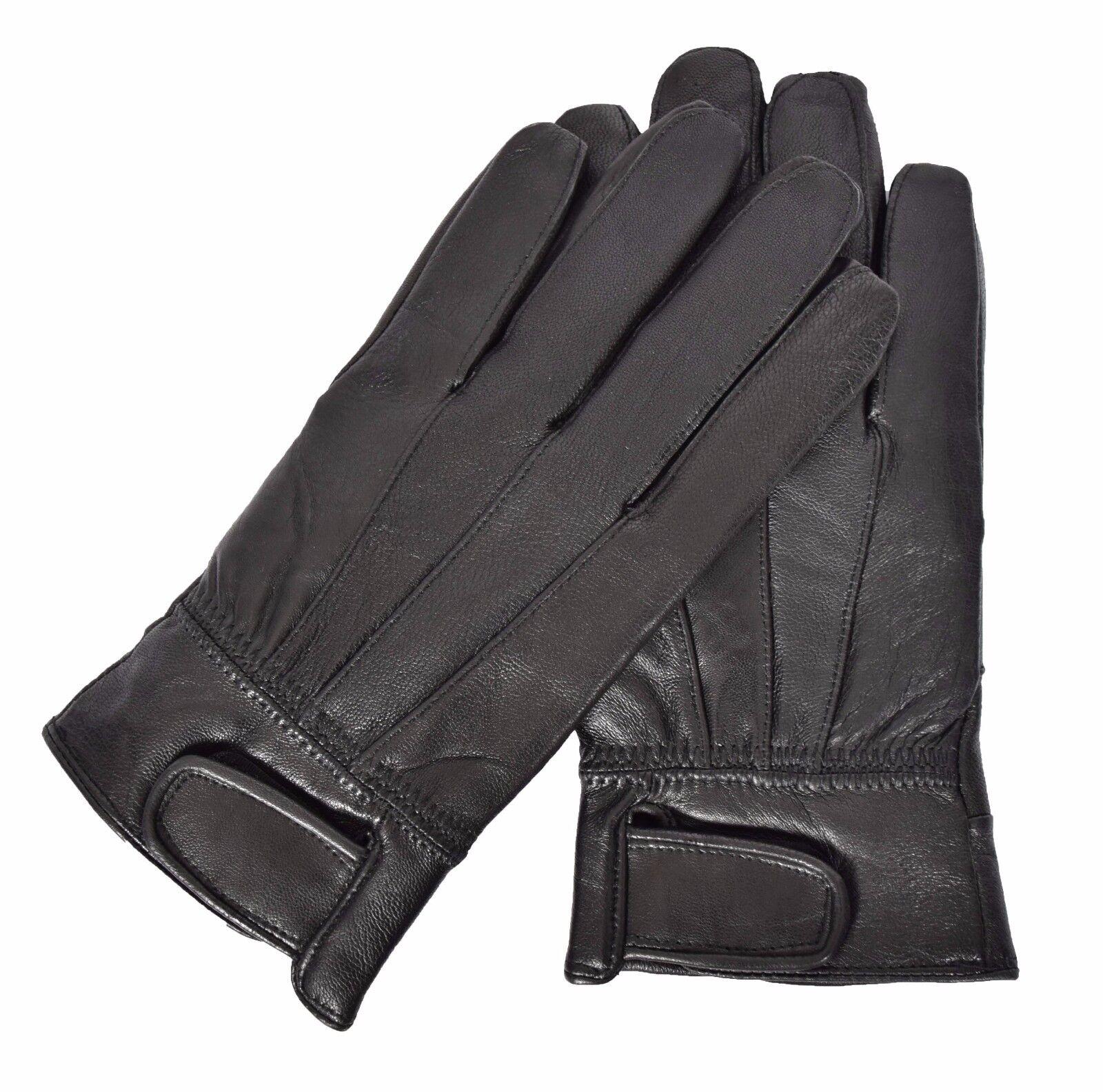 Mens soft black genuine leather gloves fleece lined warm winter gloves Josh NEW