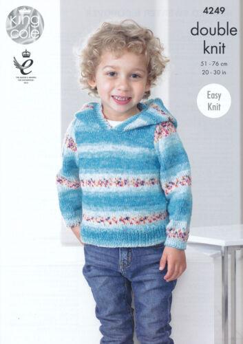 King Cole DK Double Knitting Pattern Childrens Boys Hooded Sweater Slipover 4249