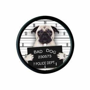 "FAWN PUG /""BAD DOG/"" KEYRING BAG TAG ANIMAL PET LOVER PHOTO GIFT"