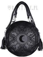 Restyle Black Henna Moon Round Bag Embroidery Punk Goth Witch Purse Handbag