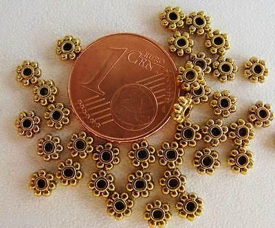 50 perles intercalaires métal DOREES rondelles marguerite 4mm DIY Bijoux MD13