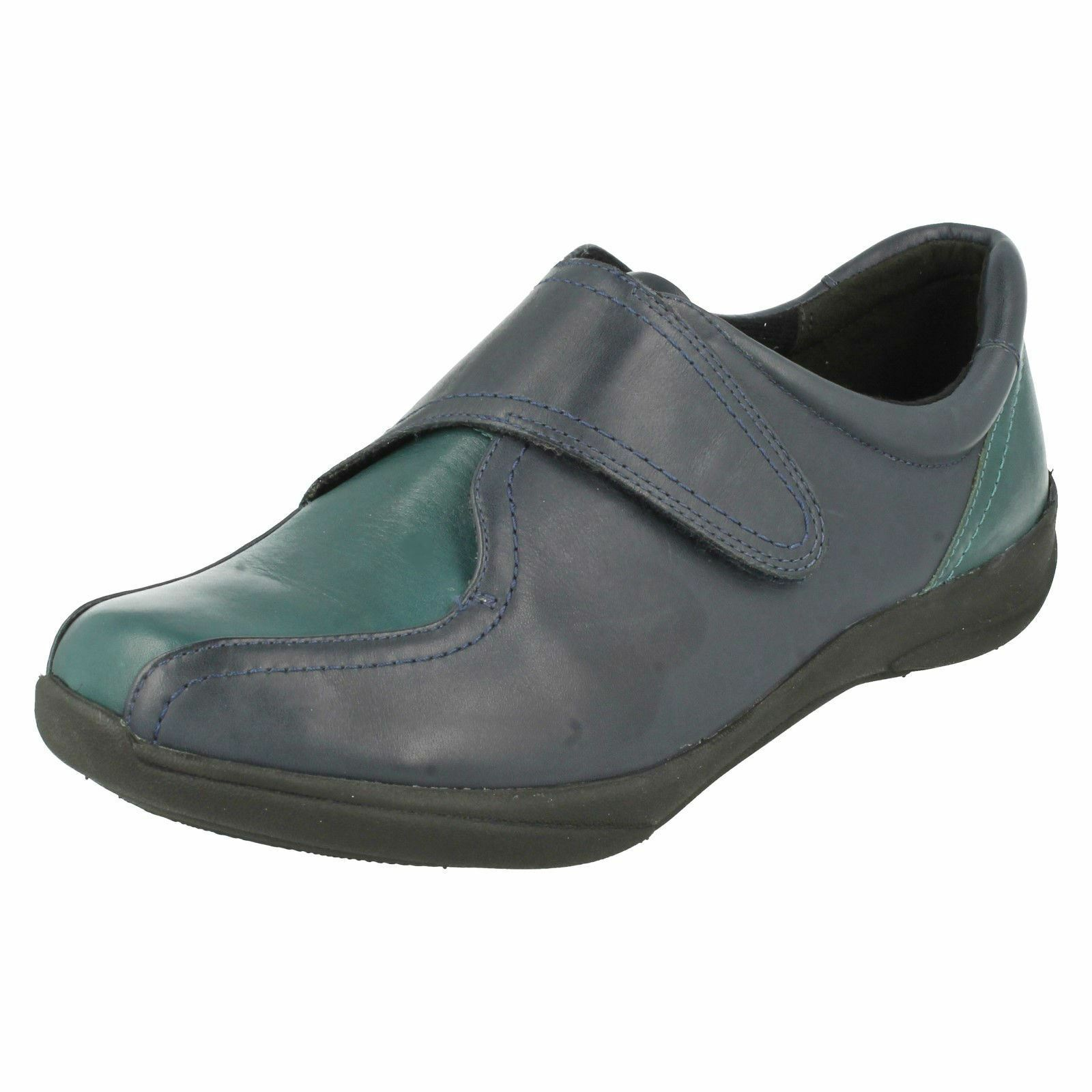 LADIES K BY CLARKS NAVY LEATHER SHOES FLAT CASUAL RIPTAPE STRAP SHOES LEATHER ETNA OAK 8a0a32