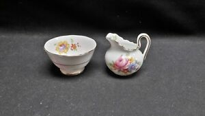 Royal-Chelsea-England-Bone-China-Floral-Miniature-Toy-Creamer-amp-Open-Sugar-Bowl