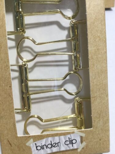 Paper Binder Style Large /& Small Set of 10 Gold Colored Wire Binder Clips