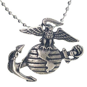 """/""""US Marines/"""" Dog Tag Black /& Silver Tone Mens Stainless Steel Necklace Pendant"""