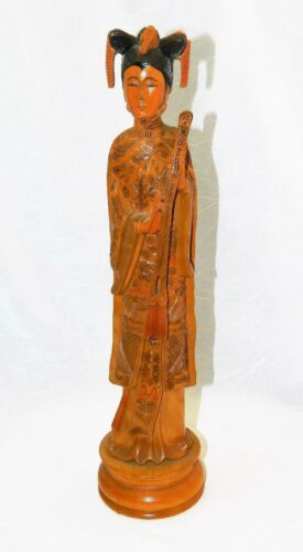 GUANYIN KWANYIN FIGURE HAND CARVED BOXWOOD 13""
