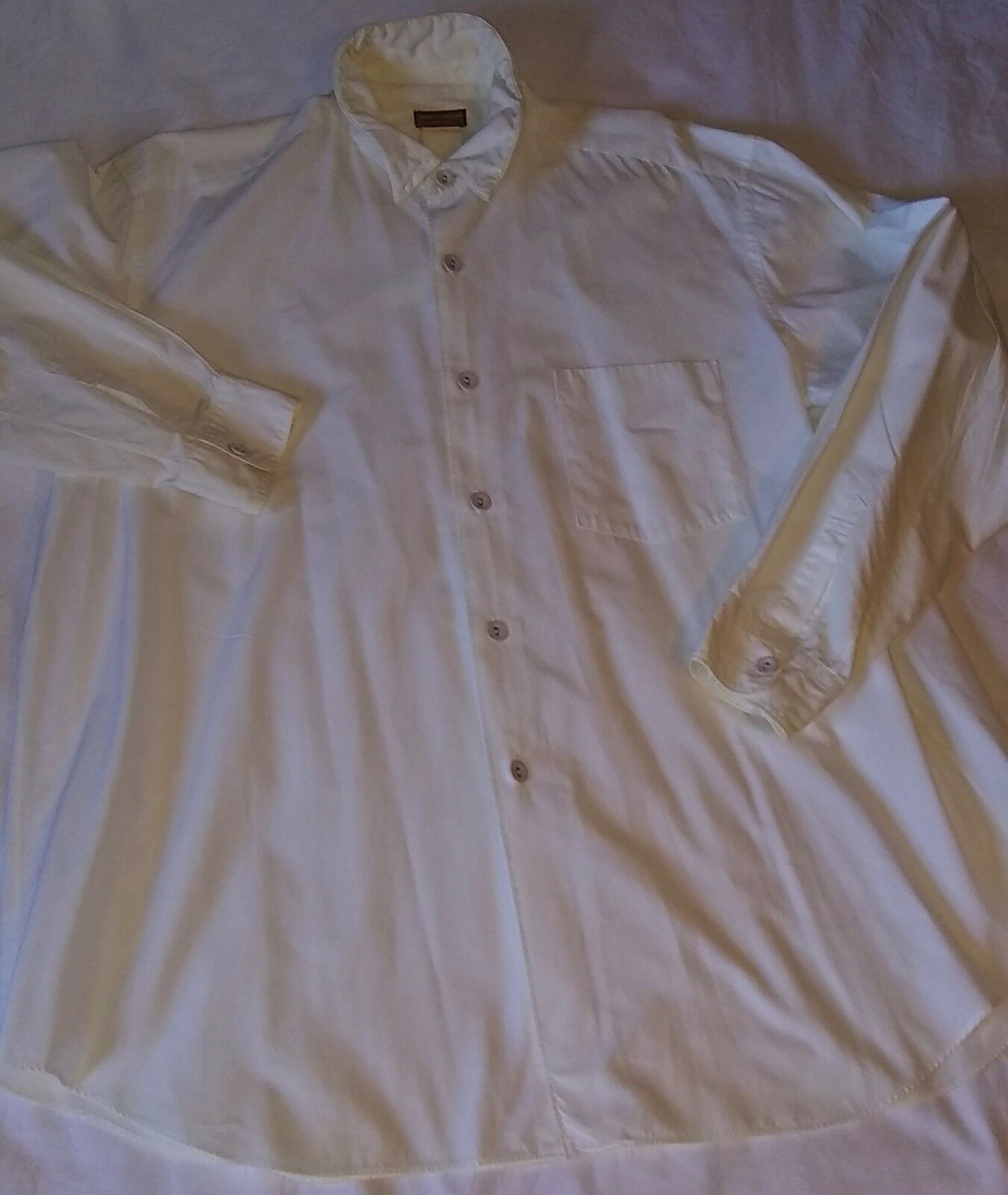 Comme des Garcons White Dress Shirt with Fabric Buttons 1980's
