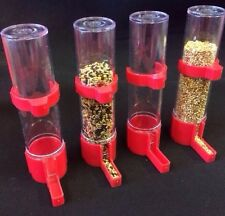 Bird Feeder X 4 Water Drinker Seed Clipper Fountain Budgie Canary Finch Lg RED