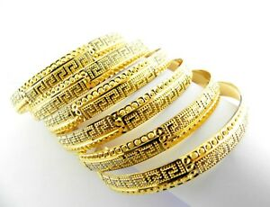 fd524c93b296f Details about 22ct Gold bangles set six with black rhodium. Greece Key  design.