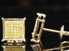 Yellow Diamond Square Studs Mens 10k Gold Round Cut Pave Design Earrings 1/4 TCW