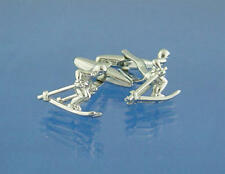 Silver Alpine Skier Deluxe Cufflinks With Gift Pouch Skiing Ski Snow Winter New