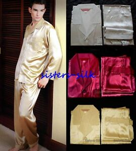 Men's 100% Pure Silk  Pajama Set Nightwear Sleepwear Size S - L AS229