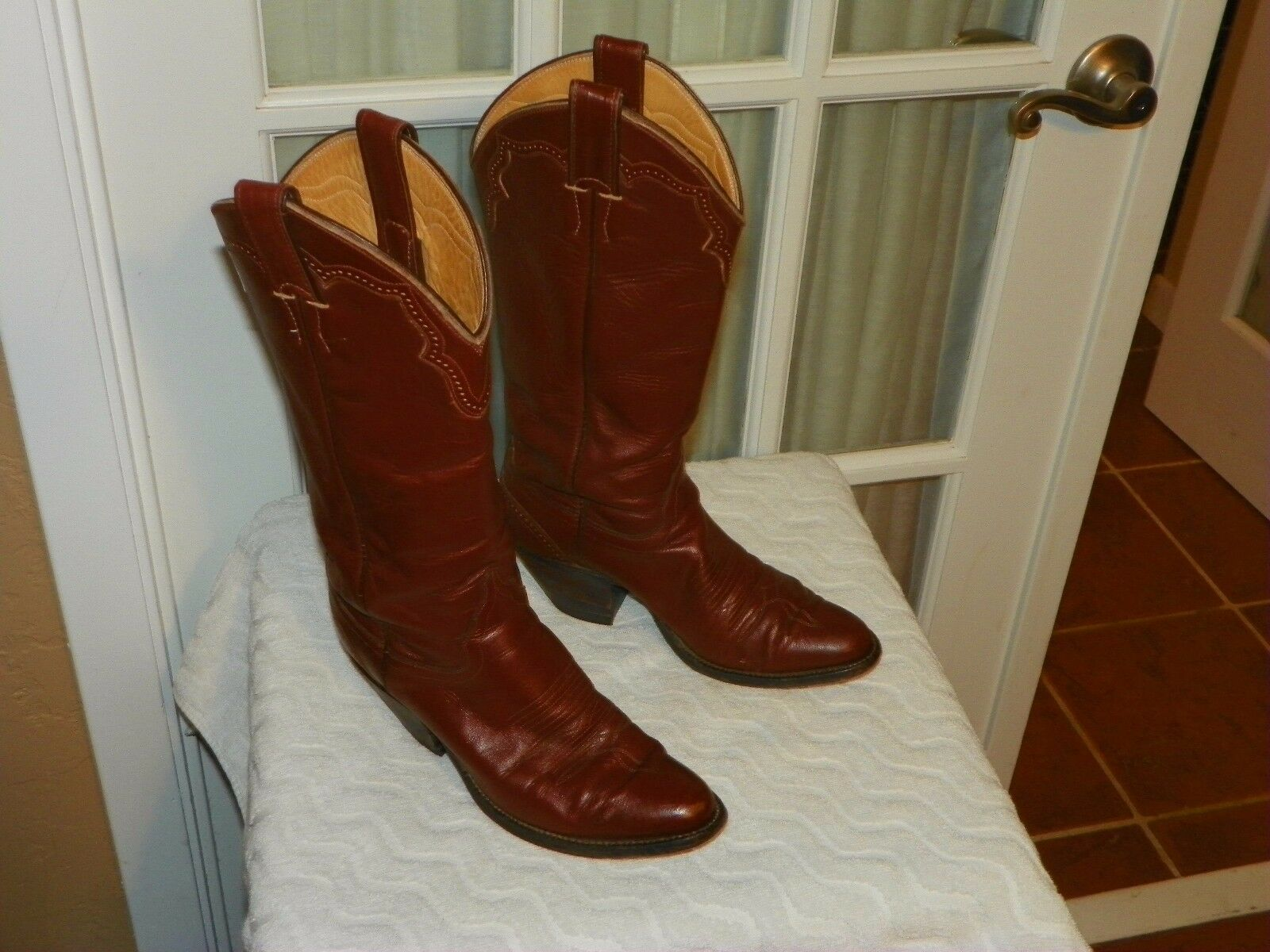 Justin Women's 6.5 B Brown Calf Leather Pull On Western Cowboy Tall Boots 3335