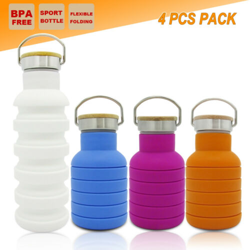 4x COLLAPSIBLE OUTDOOR WATER BOTTLE OFFICE CAMPING HIKING GYM CYCLING KETTLE CUP