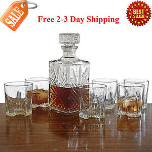 Whiskey Decanter Set 6 Glasses Scotch Glass Bottle Bourbon Liquor Gift Vintage