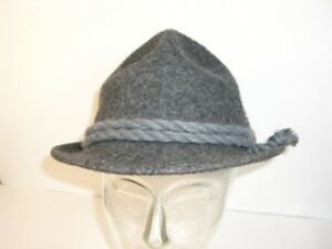 Hat-Tyrol-Hat-Hunting-Hat-Big-53-Gray-with-Grey-Drawstring-Real-Vintage