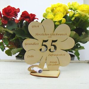 55 Geburtstag Kleeblatt großes Geldgeschenk 16cm Glückwunsch Geschenk Holz DIY