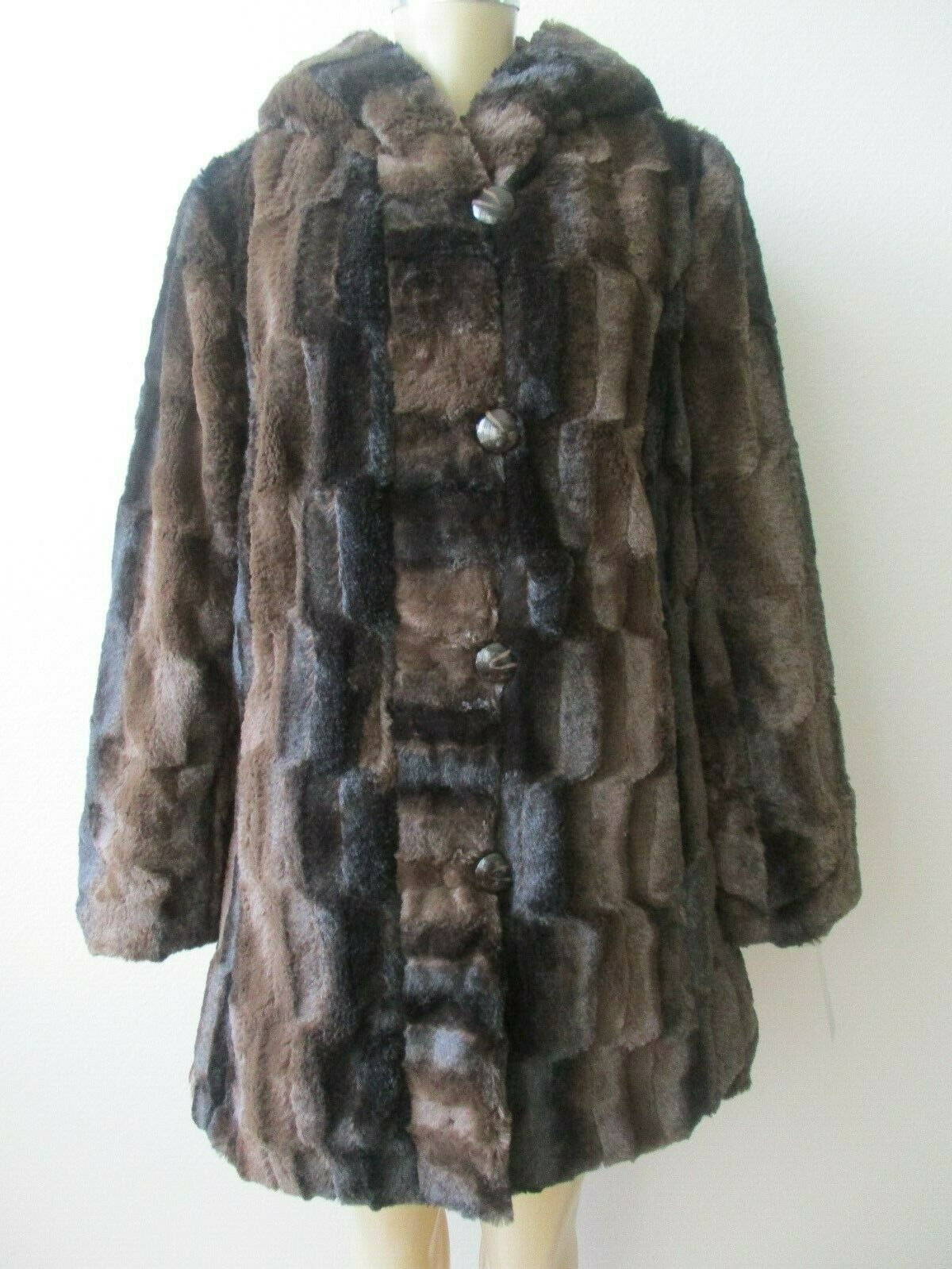 HAL RUBENSTEIN BROWN REVERSIBLE FAUX FUR LONG SLEEVE HOODED COAT SIZE XS - NWT