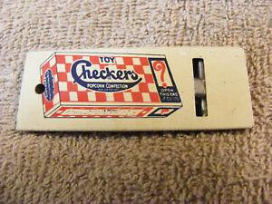 Vintage Shotwell Checkers Popcorn Prize Tin Whistle pre Cracker Jack