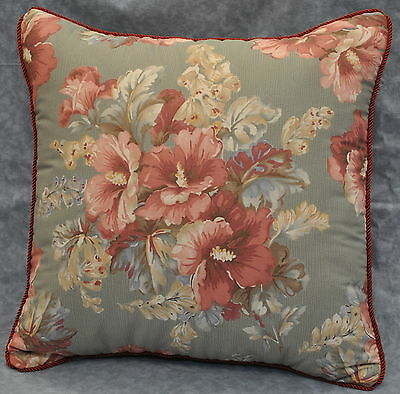 "Pillow made w Ralph Lauren Shetland Manor Sage Green Floral Fabric 16"" trim cord"