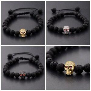 d1f2ca15a6a9 Man s Zircon Skull Head 8mm Black Lava Stone Macrame Bracelets ...