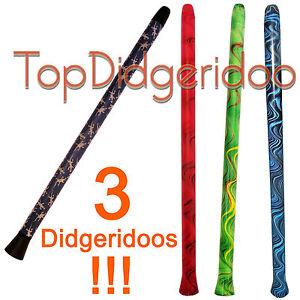 """Bien Informé Lot: 3x Moderne Didgeridoos 130cm \ 51 """" Facile à Jouer, Loud Son, Léger"""