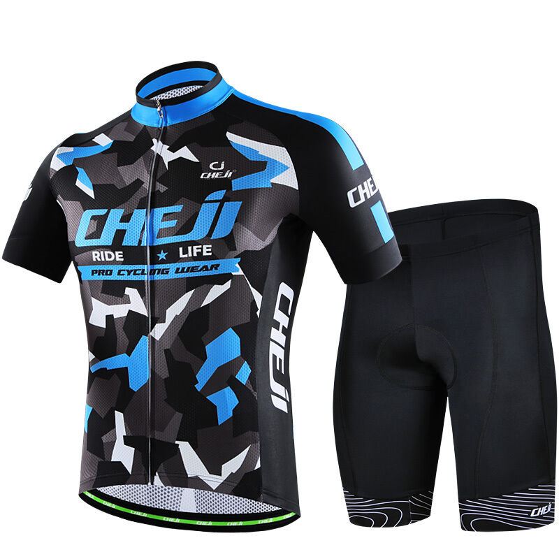 CHEJI Cycling Set Reflective Cycling Jersey (Bib) Shorts Kit bluee ... fc22e374e98