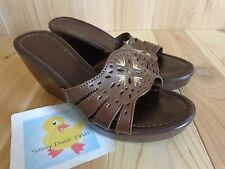 "MONTEGO BAY CLUB Sandal Wedges Size 7.5 M Brown Leather 3"" High Heels"