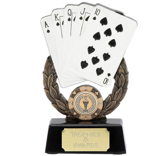 "CARDS POKER BRIDGE TROPHY AWARD  5.75/"" FREE ENGRAVING 897A"