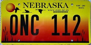GENUINE-American-Nebraska-Crane-Graphic-License-Licence-Number-Plate-ONC-112
