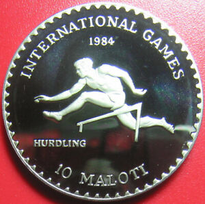 1984-LESOTHO-10-MALOTI-CAMEO-PROOF-HURDLER-INTERNATIONAL-GAMES-CU-NI-no-silver