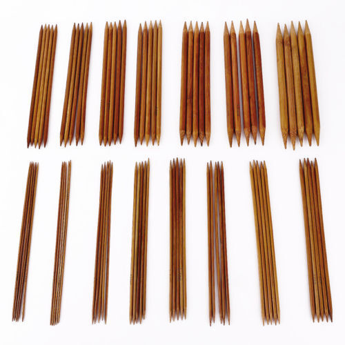 "75pcs 15size 7.9"" 20cm Double Pointed Carbonized Bamboo Knitting Needles Crochet"