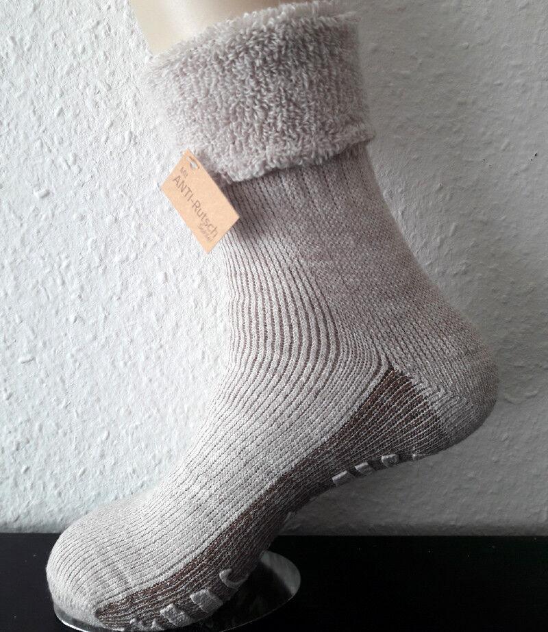 Damen ABS Wollsocken Stoppersocken mit Umschlag Wolle und Alpaka natur 35-42