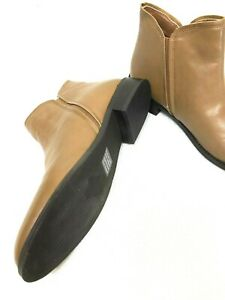 NOVO Flat Brown Tan Faux Leather Ankle